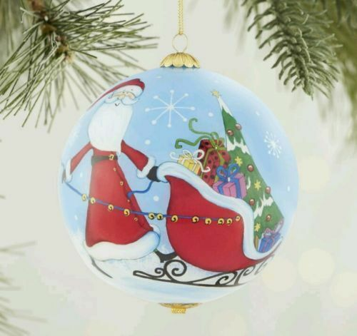 Pier 1 Christmas Ornaments.2016 Li Bien Santa Sleigh Glass Christmas Ornament Pier 1 Imports