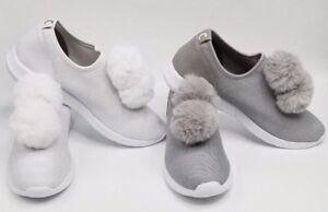 1f8eaf70e72a Circus Sam Edelman Lisette Pom Pom Slip On Sneakers Silver White NIB ...
