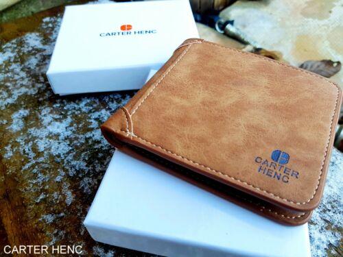 CARTER HENC Designer Mens Leather Wallet RFID SAFE Contactless Card Blocking ID