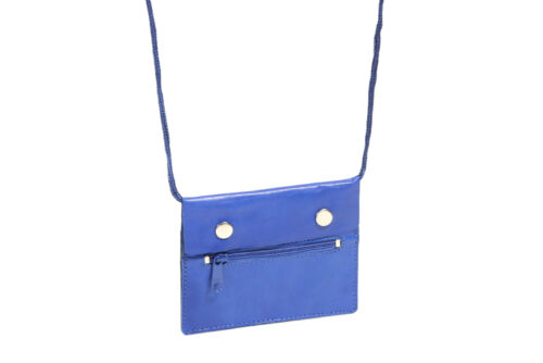 blau Umhängebeutel Kinderbrustbeutel Leder Brustbeutel LEAS in Echt-Leder