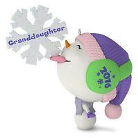 Granddaughter 2016 Hallmark Ornament Family Snowman Snow Girl Snowflake Pink