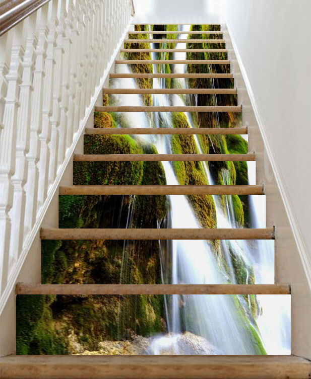 3D Streams Falls 19 Stair Risers Decoration Photo Mural Vinyl Decal Wallpaper UK