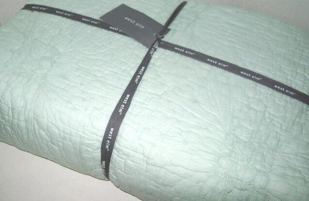 West Elm Pale Pale Pale Aqua Ruched Rosette Cotton Voile King Quilt Nuovo 98fe93