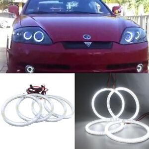 Details About Headlight Retrofit White Led Angel Eye Halo Rings For Hyundai Tiburon 2003 2006