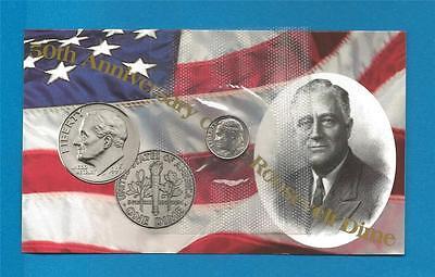 1996-W Roosevelt Dime 50th Anniversary Mint Cello Coin with COA Brilliant Uncirc