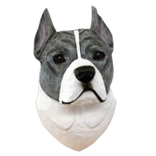 American Staffordshire Terrier Head Plaque Figurine Blue//White