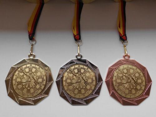 Dartscheibe Pokal Kids Medaillen 70mm 3er Set mit Deutschland-Band Emblem (e103)