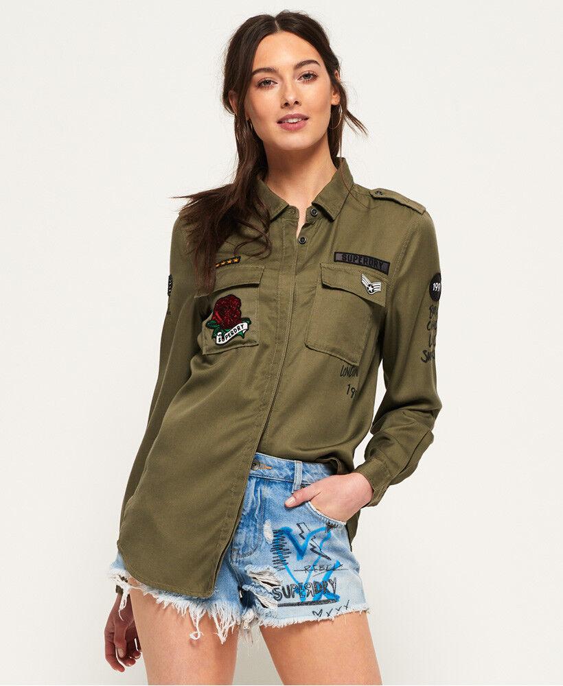 Neues Damen Damen Damen Superdry Emma Military Shirt Khaki 8eb6d5