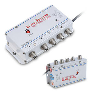 Home-AC-4-Way-Output-CATV-Cable-TV-Antenna-Signal-Amplifier-AMP-Booster-Splitter