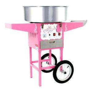EU Plug Commercial Candy Floss Making Machine Cart Pink Cotton Candyfloss Maker