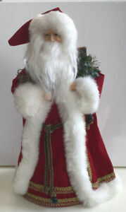 Vintage-Father-Christmas-Santa-Claus-Red-amp-White-Tree-Topper-Figure-14-Tall
