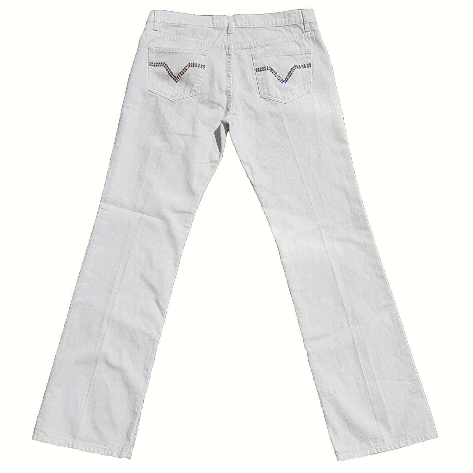 New R.E.D. Valentino Jeans  Größe 32 UK 14 Weiß with Crystal Stud Pockets