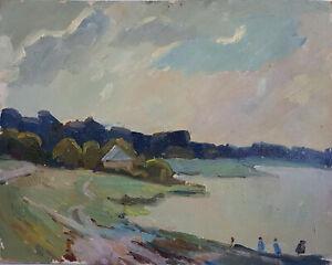 Original-Vintage-European-Oil-Painting-Impressionism-Realism-Landscape-Reaver