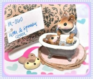 ❤️Wee Forest Folk M-060 Mom & Squeaky Clean Retired Mouse Blue Dress Gray Tub❤️