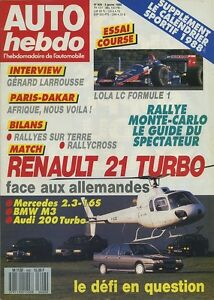 AUTO-HEBDO-n-606-du-6-Janvier-1988-ESSAI-COURSE-F1-LOLA-LC1-R21-TURBO-BMW-M3