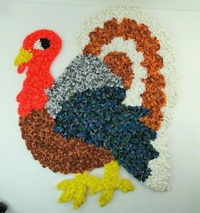 Turkey-Melted-Plastic-Popcorn-Decoration-Fall-Autumn-Vintage-Huge-Free-Ship