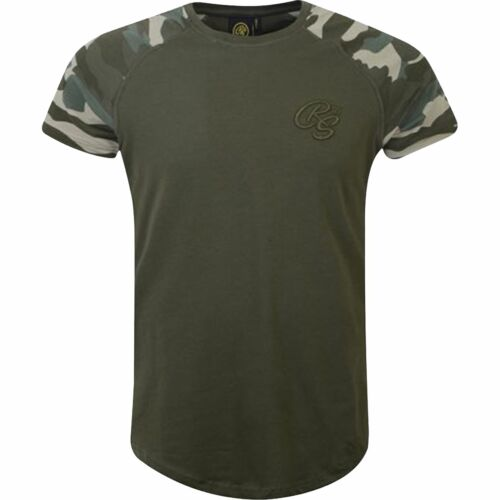 New Mens Crosshatch Contrast Camo Sleeve Raglan Top Tee T-Shirt Branded Army