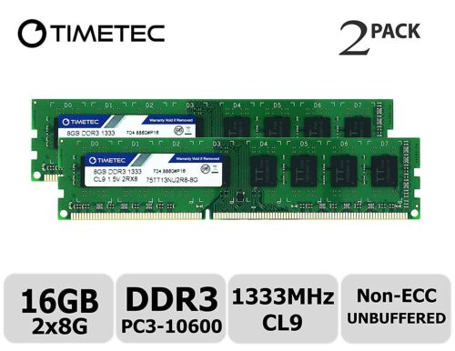 Timetec Hynix IC 16GB Kit DDR3 1333MHz PC3-10600 Unbuffered Non-ECC 1.5V 2x8GB