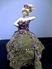 Delicate Porcelain Half Doll Ring Or Pin Cushion Metallic Lace & Ribbonwork Gown