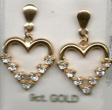 real 9ct yellow gold heart shape drop stud earrings C Z stones new not scrap