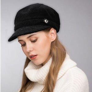20fbbdf24cf2d M S Ladies Womens Jewel Girls Wool Blend Baker Boy Peaked Cap ...