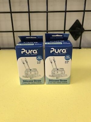 Pura 2 Pack Silicone Straw Stainless Vente Nipple Baby Bottle Brand NEW In Box