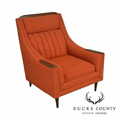 Awesome Kroehler Avant Designs Mid Century Modern Orange Upholstered Lounge Chair Ebay Machost Co Dining Chair Design Ideas Machostcouk