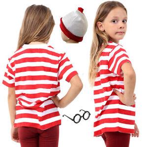 Children/'s Red//White Stripe Short Sleeve T-Shirt Children Book Week Fancy Dress