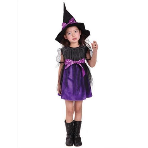 Karneval Kostüm Kinder Mädchen Hexe Kleid Hut Fasching Cosplay Party Outfit Set