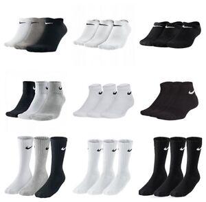 Nike-Kids-Junior-3-Pair-Socks-Boys-Ankle-Crew-Cotton-Sports-Black-White