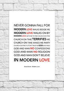David Bowie Modern Love Song Lyric Art Poster A4 Size Ebay