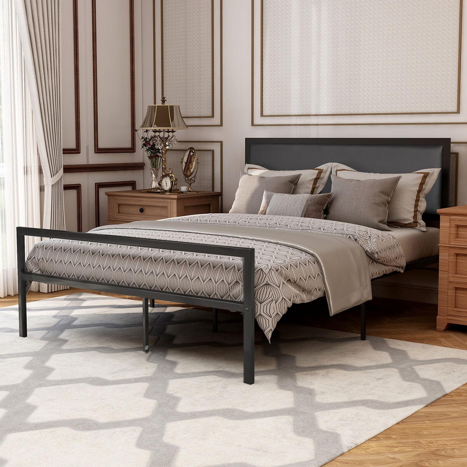 Modern Full Black Size Metal Bed Frame Platform Headboards With 6 Legs For Sale Online Ebay