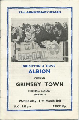 Brighton & Hove Albion v Grimsby Town League Division 3 1976 Football Programme