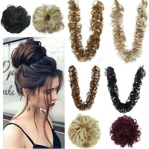 Real-Thick-Hair-Extension-Scrunchie-Wrap-Messy-Bun-Updo-Curly-Ponytail-Chignon