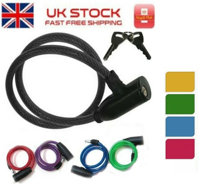 Bicycle Bike Cycle Spiral Steel Cable Lock Strong Security Chain 2 Key 8mm Thick