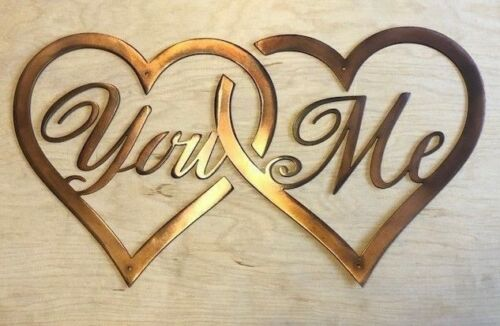 You Me Connected Hearts Rustic Copper Patina Finish Metal Wall Art Hanging