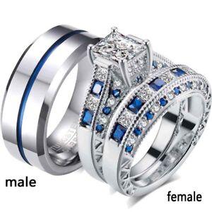 2 Rings Couple Rings Tungsten Ring Mens Ring Cz Women S Ring Wedding