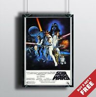 STAR WARS A NEW HOPE Episode IV Poster A3 / A4 Classic Movie Art Print Home Deco