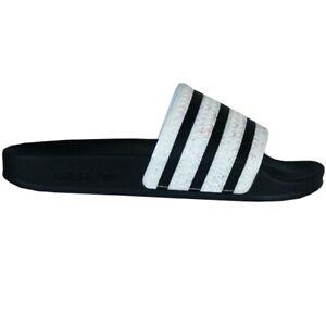 Details zu Adidas Adilette Glitzer/Glamour Badeschuhe Freizeitsandalen  Damen schwarz CG6256