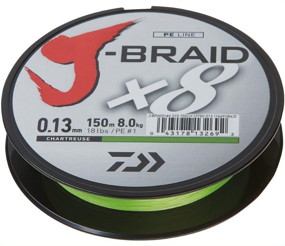 Daiwa J-BRAID x8 0,18mm - chartreuse - 1500m Großspule geflochtene Schnur