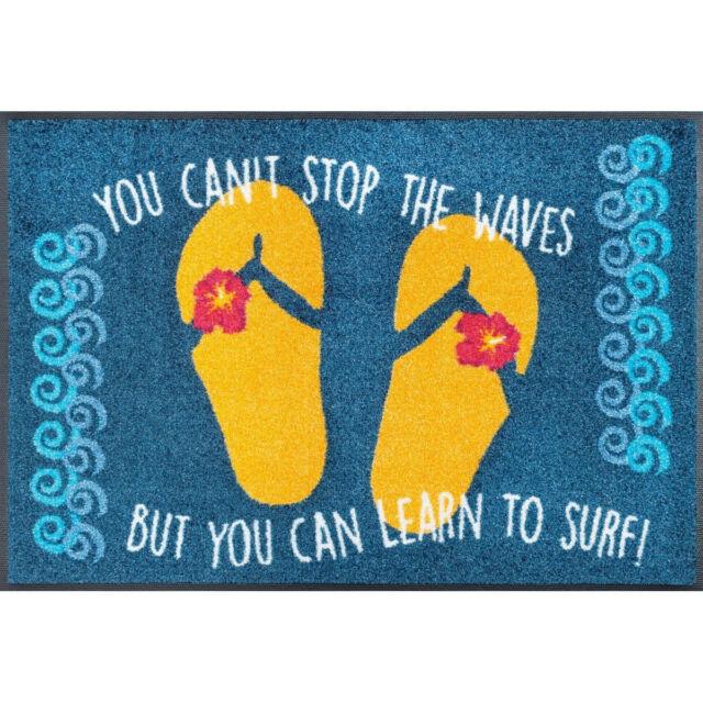 Waschbare Fußmatte Learn to surf maritim 50x75 cm Wash+Dry Fußabstreifer lustig