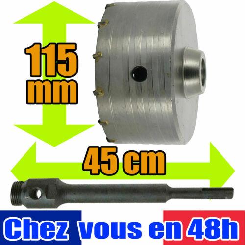 Kit de Forage Béton trepan scie cloche 115 mm tige 45 cm 585485 580460 brique