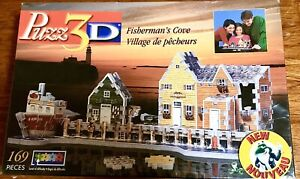 NEW-Wrebbit-Puzz-3D-FISHERMAN-039-S-COVE-169-Pcs-Factory-Sealed-Jigsaw-Puzzle