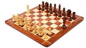 """Combo of Chess Pieces in Bud Rose / Box Wood - 4.2"""" King with Wooden chess Board"""