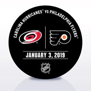 Philadelphia-Flyers-Issued-Unused-Warm-Up-Puck-1-3-19-Vs-Carolina-Hurricanes