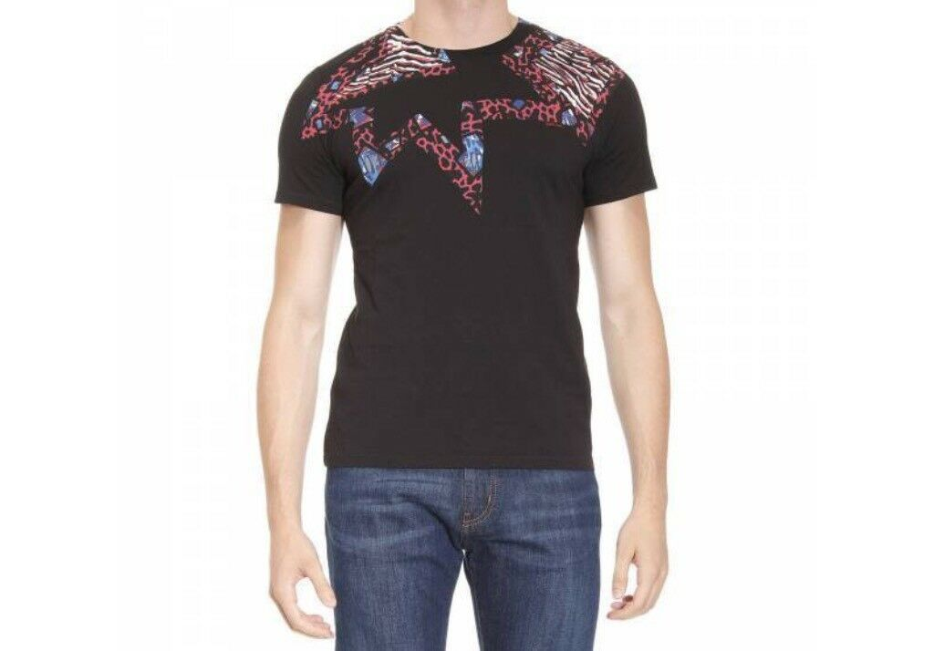 BNWT 100% Auth Just Cavalli, Uomo Nero T-shirt astratto. 2XL RRP .90
