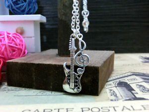 Antique-Silver-Guitar-amp-Music-notation-charm-handmade-chain-necklace-pendant