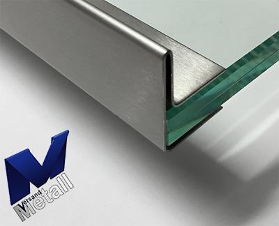Einfassprofil für Glas 1,5 mm L= 2000mm Edelstahl Kantblech 1.4301 Schliff K320.