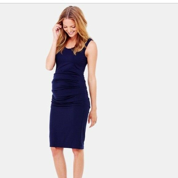 New Ingrid Isabel Ruched Stretch Sleeveless Tank Maternity M Dress Navy bluee