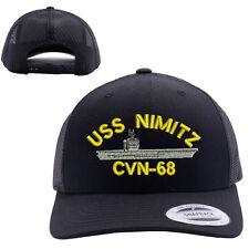 USS NIMITZ CVN-68 SHIP MESH TRUCKER SNAP CLOSURE CAP HAT BLACK RETRO